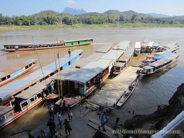 Boats at Pak Ou, Luang Prabang